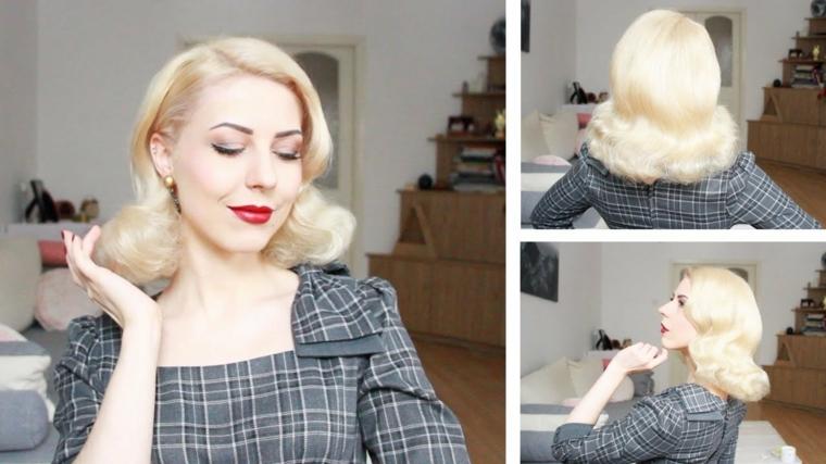 come fare un ciuffo anni 50 donna con capelli biondi taglio di media lunghezza