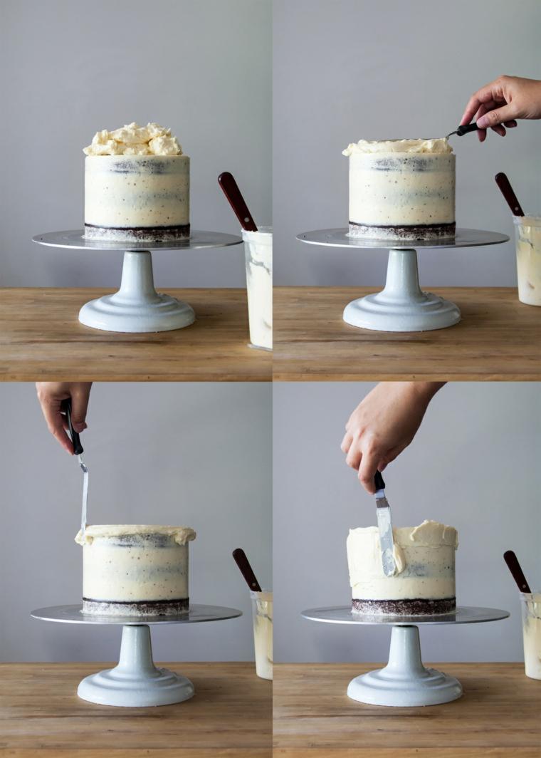 decorazioni torte semplici con panna spalmare con spatola da pasticceria