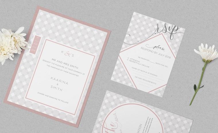 inviti matrimonio dal design geometrico tonalità di colore pastello