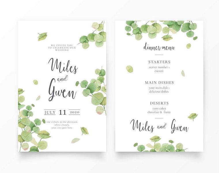 invito matrimonio partecipazione con motivi floreali su sfondo bianco
