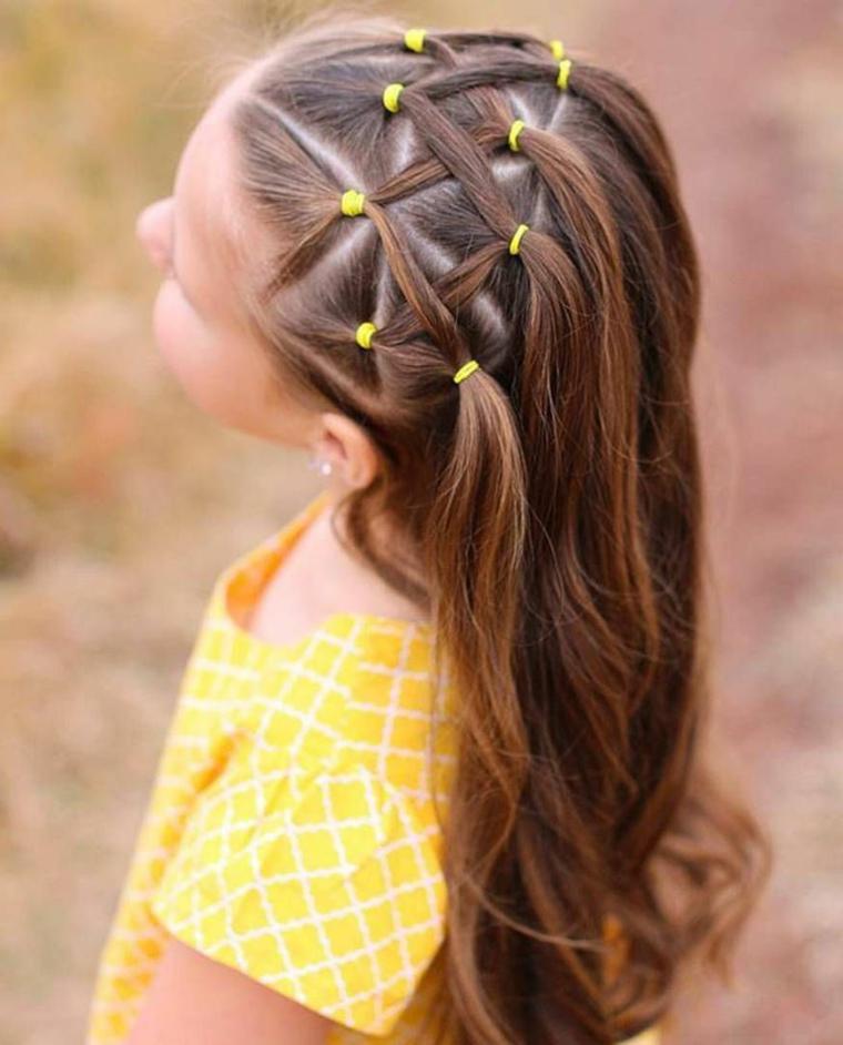 pettinatura capelli castani acconciature bambina con elastici
