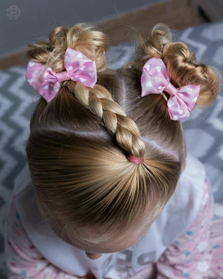 pettinatura cerimonia bambina acconciatura capelli biondi con treccia