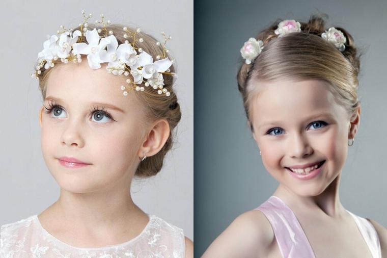 pettinatura comunione bambina treccia a corona con cerchietto di fiori