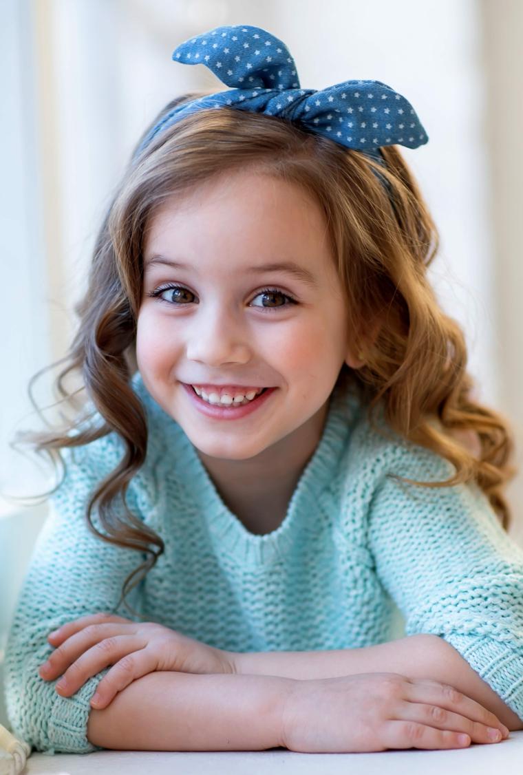 pettinature bambina capelli biondi con onde accessorio cerchietto con fiocco