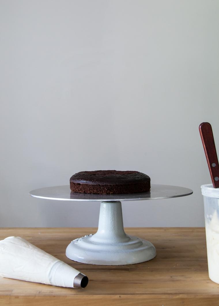 strato di pan di spagna al cioccolato come decorare una torta con la panna colorata