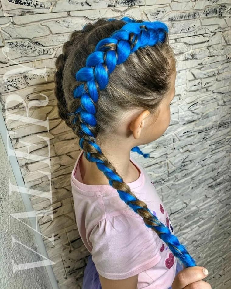 treccia olandese con filo acconciature per bambina semplici