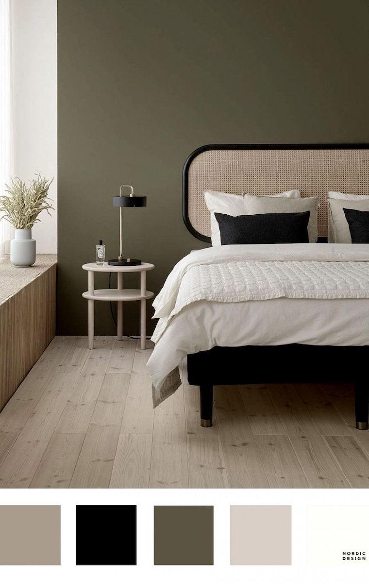 abbinamento colori pareti camera da letto tetata di rattan di colore beige