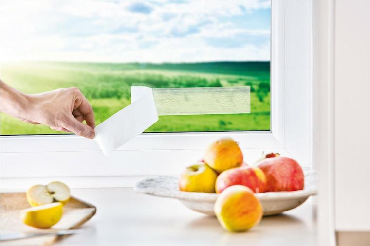 adesivo catturamosche da appendere al vetro in cucina