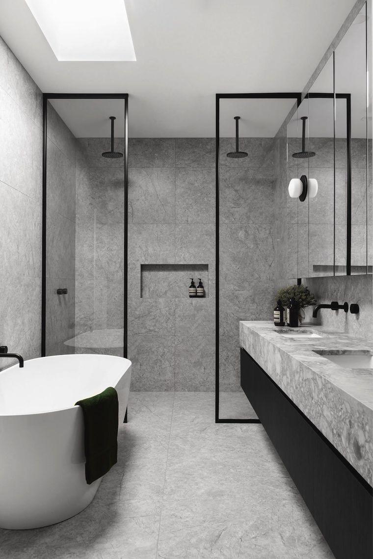 arredare bagno piccolo e stretto box doccia con nicchia nella parete