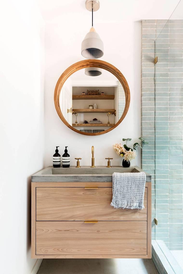 bagni moderni con doccia mobile lavabo da appoggio specchio rotondo di legno