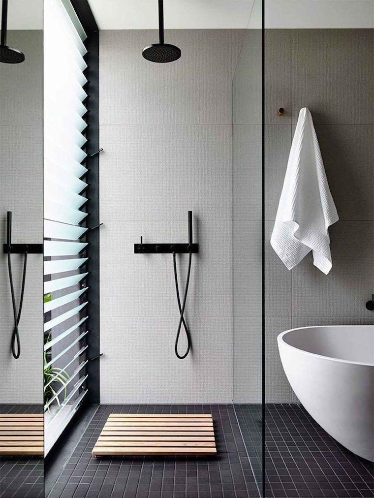bagni moderni con doccia rivestimento pareti con piastrelle effetto opaco