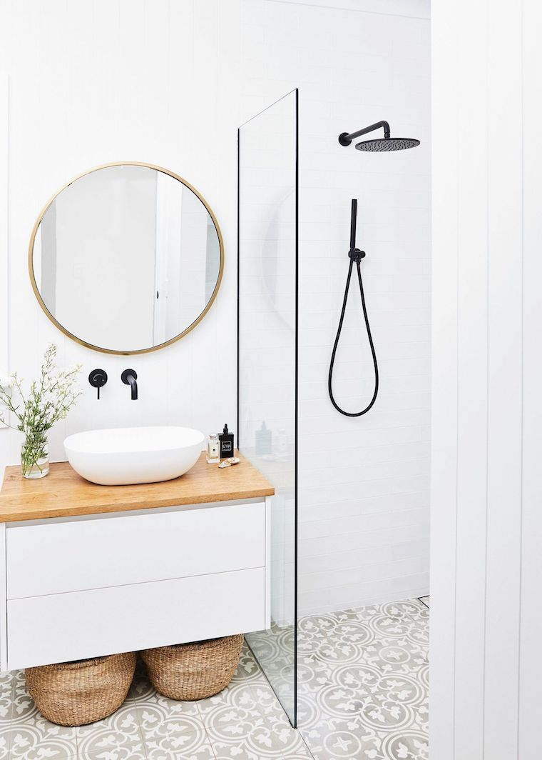 bagni moderni piccoli con doccia box doccia con piastrelle bianche