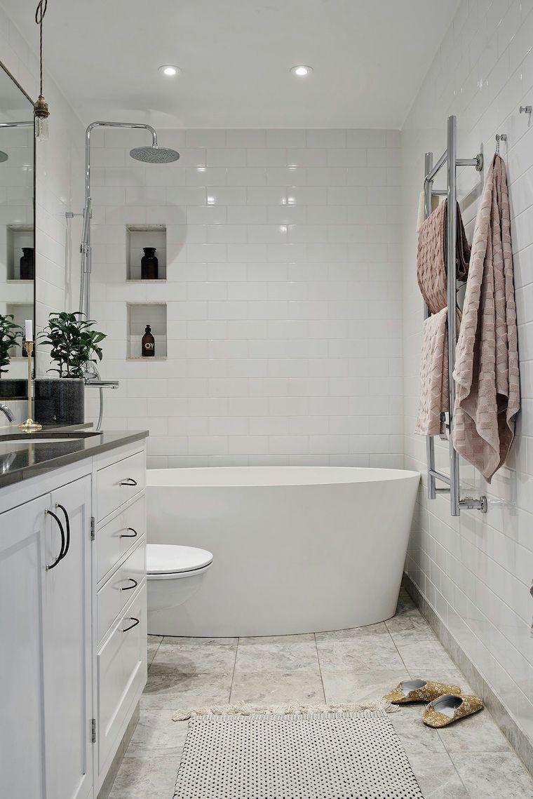 bagni moderni piccoli con doccia mobile lavabo con superficie in marmo