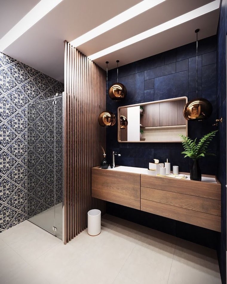 bagno piccolo soluzioni salvaspazio box doccia illuminazione con lampade sospese