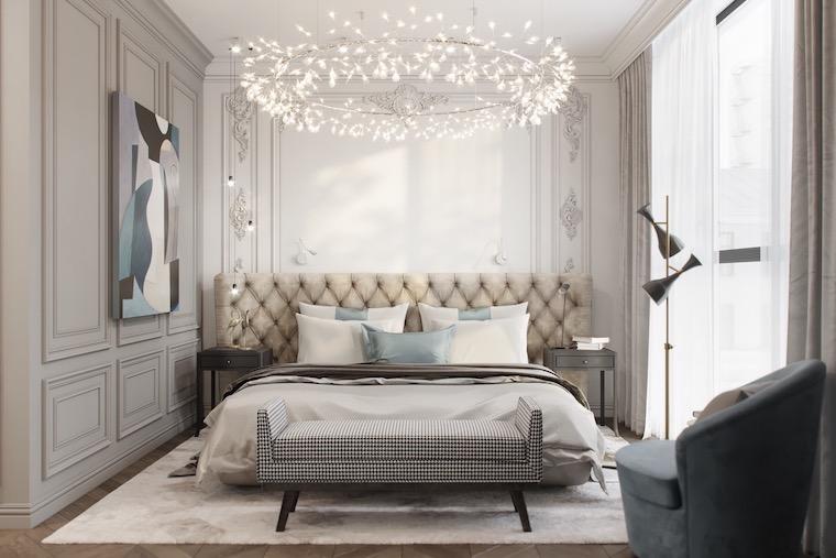 camera da letto bianca e grigia parete con boiserie di legno