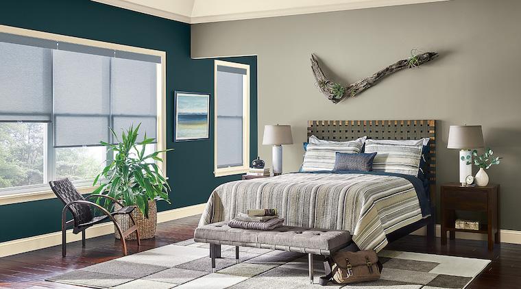 colori camera da letto 2021 parete di colore verde e grigio