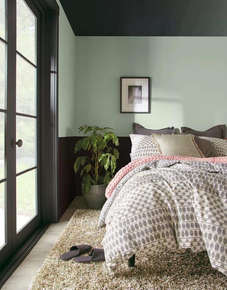 colori per camera da letto abbinamento parete due tonalita verde nero