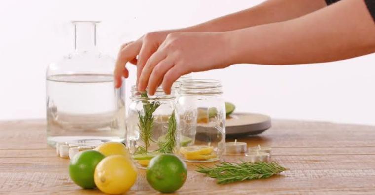 come allontanare le mosche all aperto barattolo di vetro con rametti di piante e limone