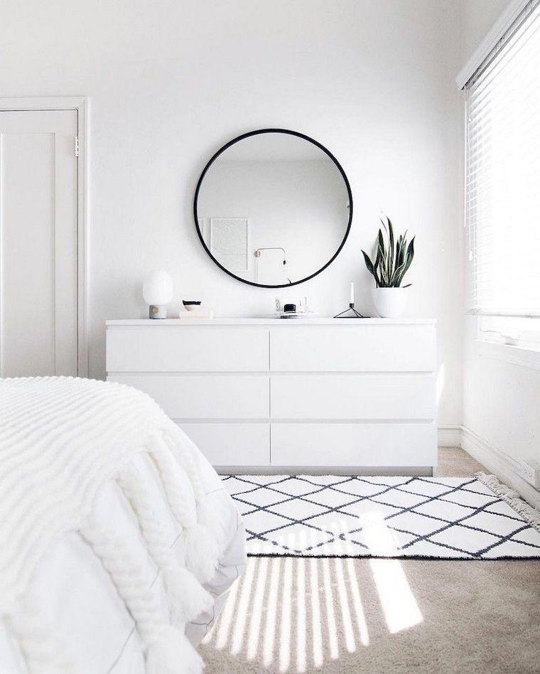 come dipingere camera da letto idee pareti bianche con specchio rotondo nero