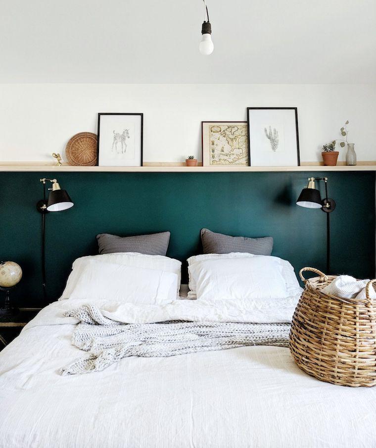 dipingere camera da letto due colori bianco e verde salvia