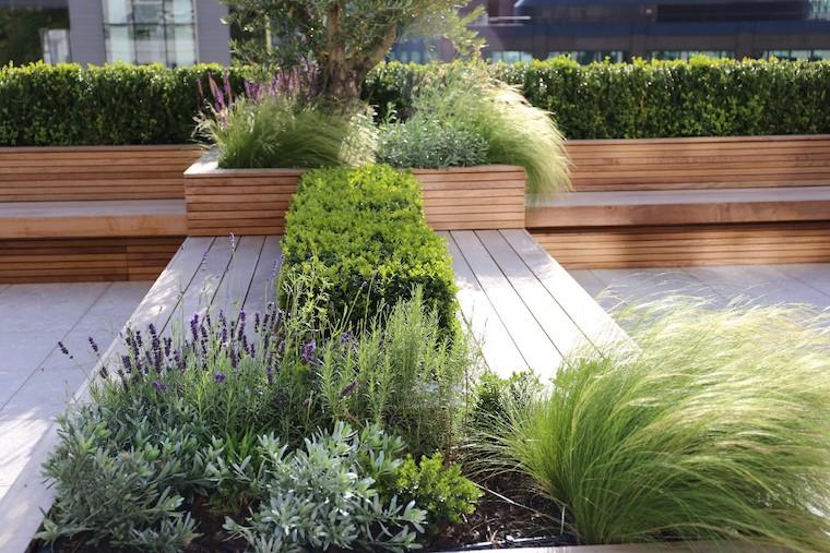 fiori di lavanda in giardino arredamento esterno con panchina di legno