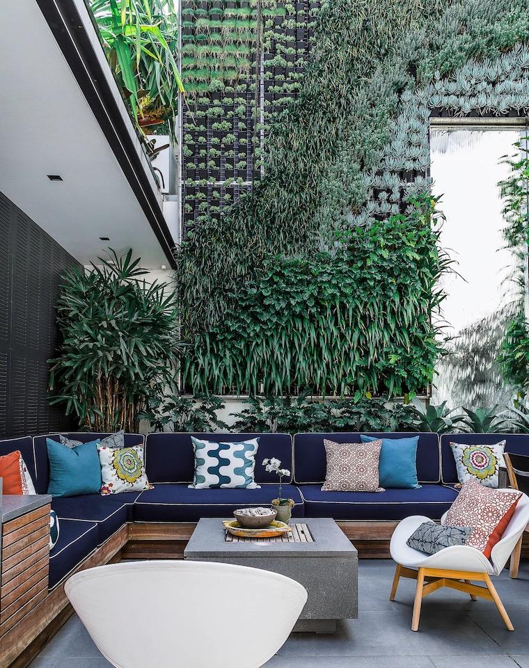 giardino verticale con piante perenni dalla foglia verde