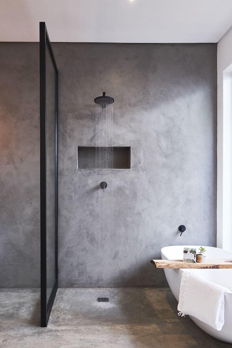 idee bagno moderno piccolo con doccia rivestimento parete gres grigio