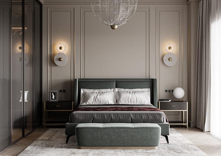 parete con boiserie moderna di colore grigio camera da letto in grigio