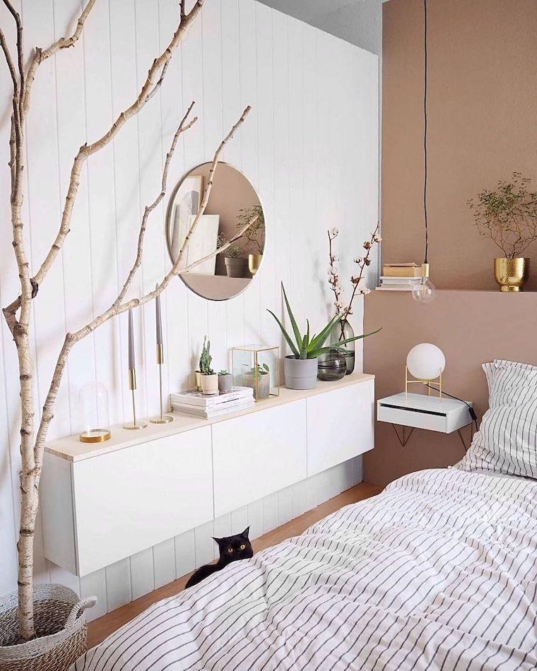 pastello colori pareti camera da letto bianco e terra mobile bianco sospeso
