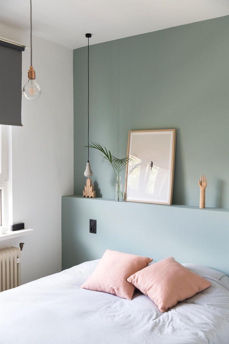 pastello colori rilassanti per camere da letto parete dipinta di colore verde