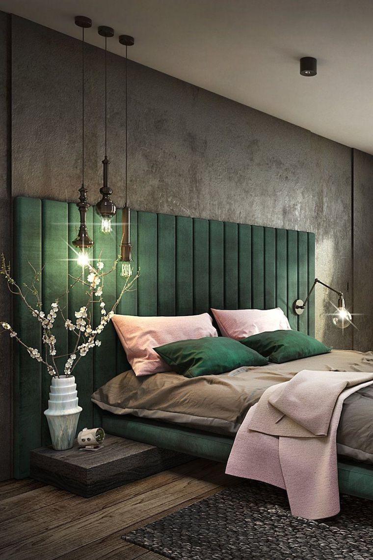 pastello colori rilassanti per camere da letto testata di tessuto verde