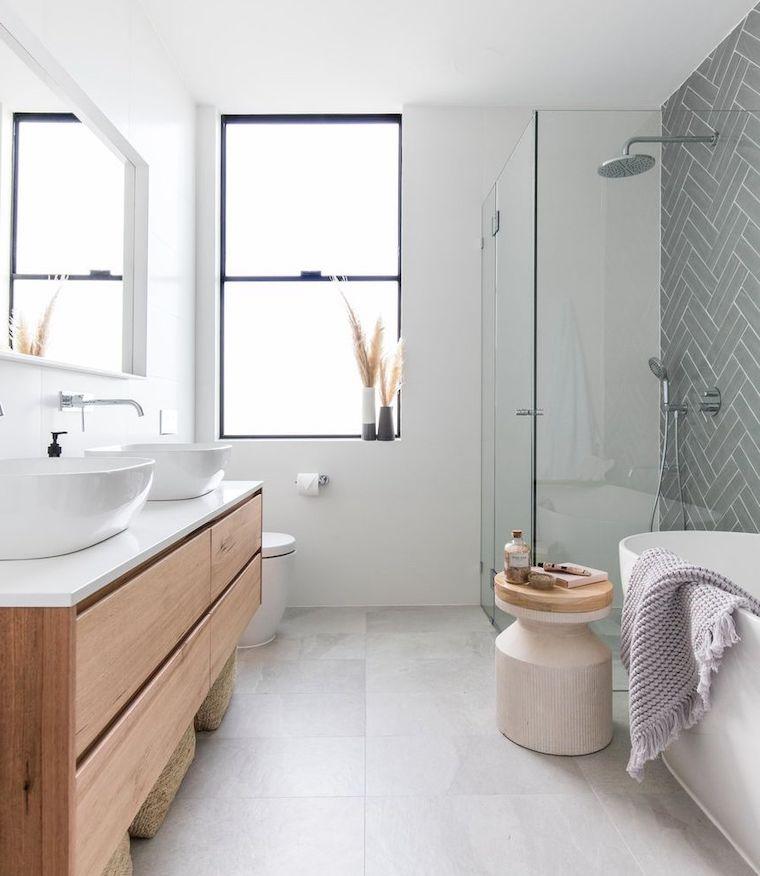 piccoli bagni moderni pavimento in gres porcellanato di colore grigio