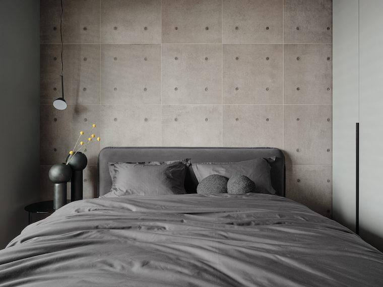 pittura camera da letto classica parete dipinta di grigio