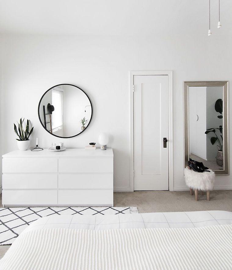 pittura camera da letto classica pareti bianche pavimento con tappeto
