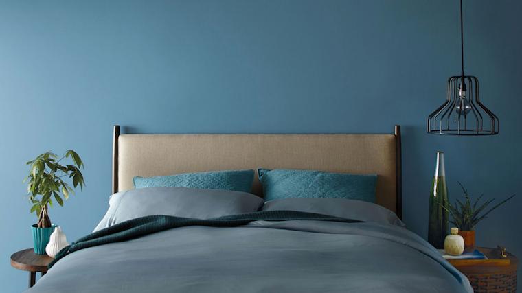 qual è il colore migliore per la camera da letto parete dipinta di blu