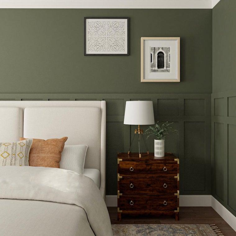 qual e il colore migliore per la camera da letto parete verde con boiserie