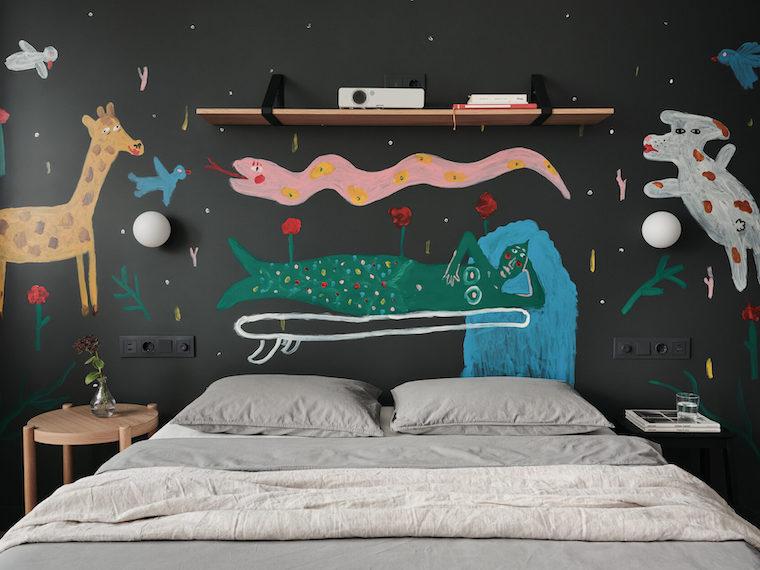 quali sono i colori riposanti parete di colore nero con disegni