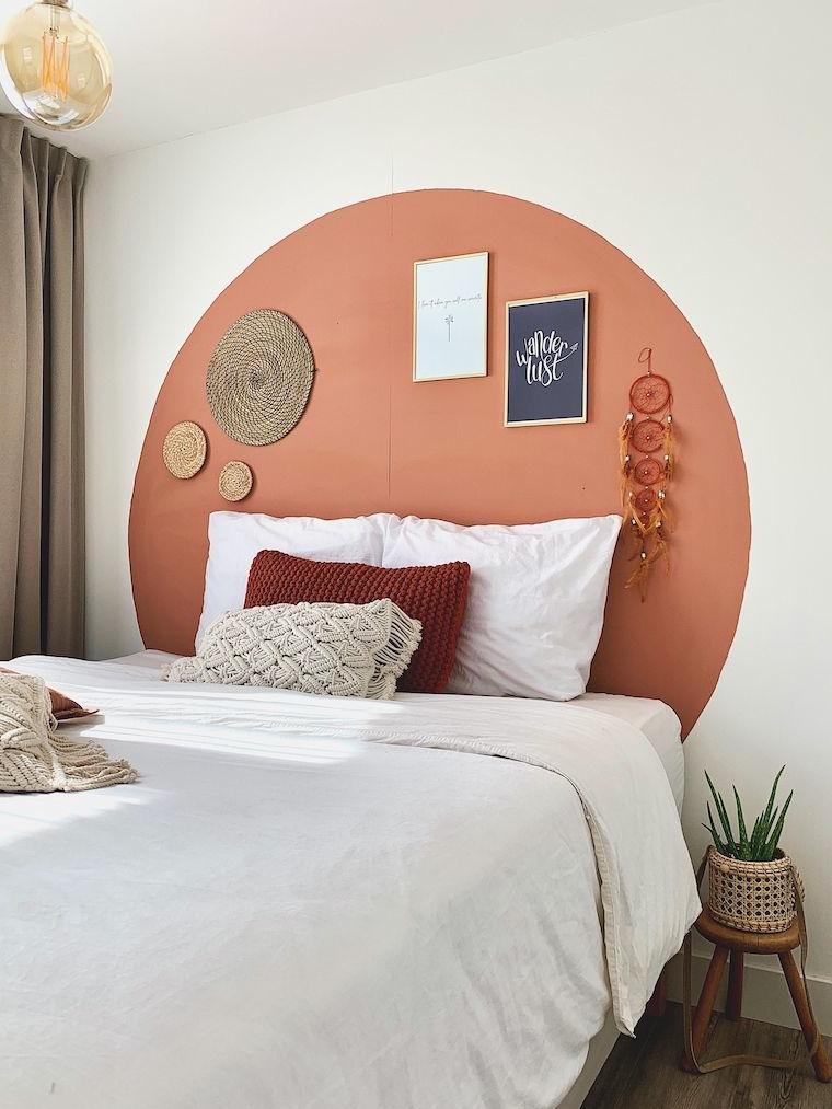 rilassante colori pareti camera da letto parete concerchio dipinto di color terra