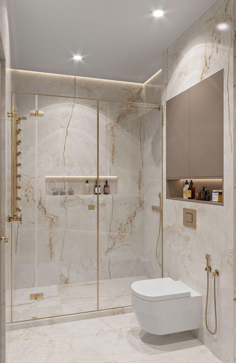 salvaspazio idee bagno piccolo rivestimento pareti con piastrelle in marmo
