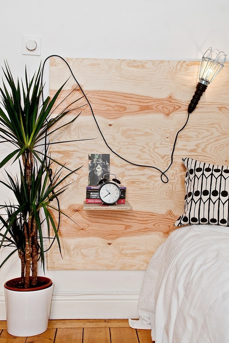 testata di legno con mensole rilassante colori pareti camera da letto