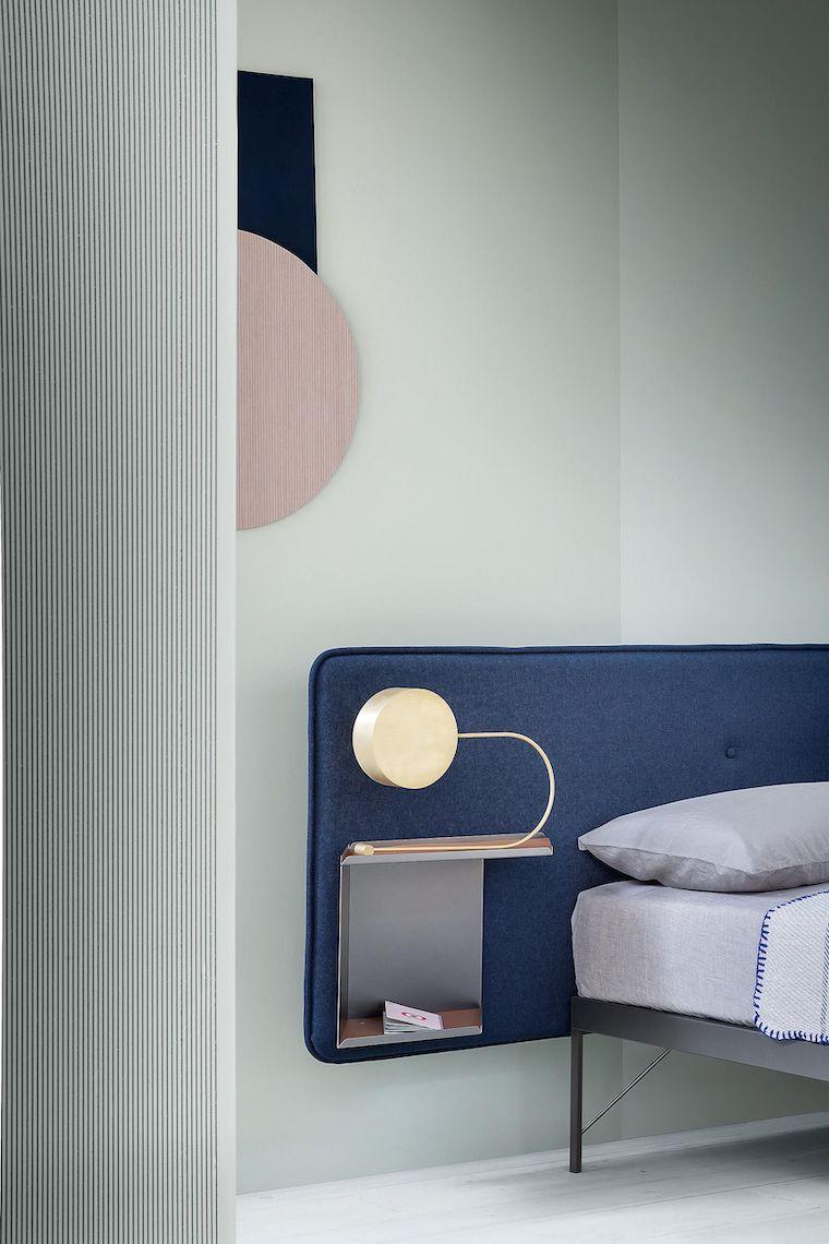 testata letto in tessuto di colore blu colori camera da letto 2021