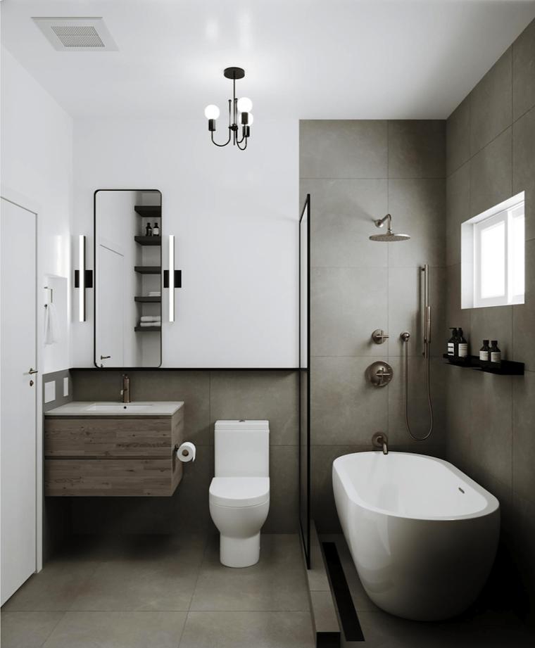 vasca con doccia piastrelle adatte ad un bagno piccolo mobile lavabo di legno