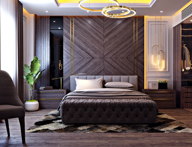 zona notte con boiserie di legno camera da letto con illuminazione originale