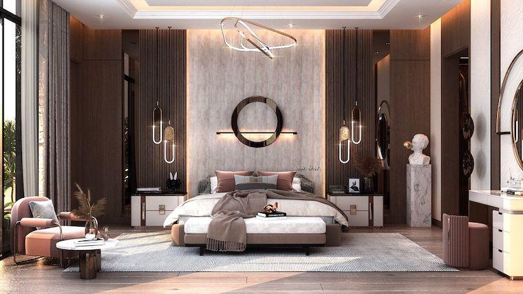 zona notte stile moderno decorazione parete con pannelli retro illuminati pareti con boiserie moderne