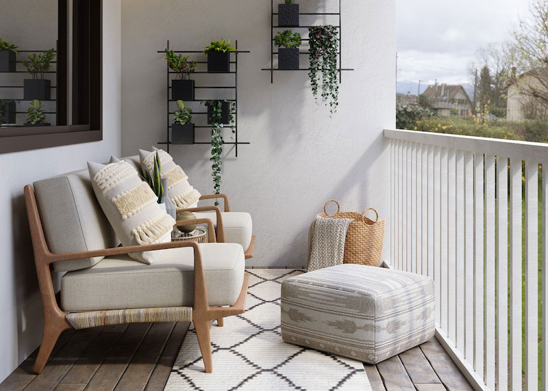come arredare un terrazzo piccolo ringhiera di legno