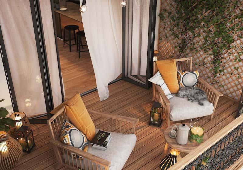idee per arredare un grande terrazzo mobili in legno