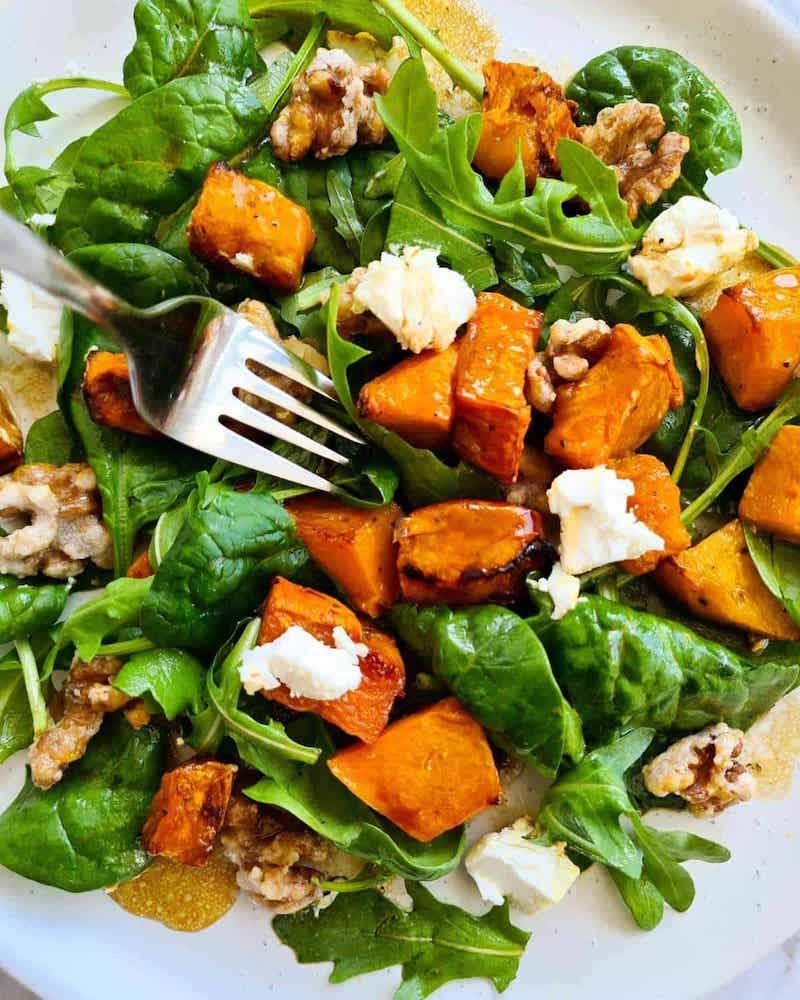 insalata con spinaci e zucca